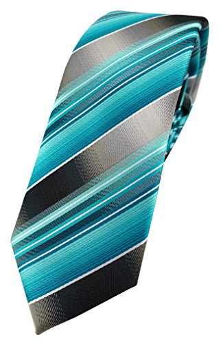TigerTie schmale Designer Krawatte in türkis silber anthrazit grau gestreift