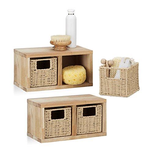 2 x Wandregal Walnuss klein im Set, Regalsystem, je 2 Körbe herausnehmbar, insgesamt 4 Fächer, für Bad, Küche oder Wohnzimmer, natur - Bad Korb-set