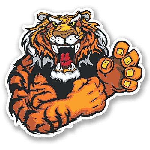 DestinationVinyl 2 x 30cm/300mm Wütender Löwe Tiger Vinyl Selbstklebende Sticker Aufkleber Laptop Reisen Gepäckwagen Cool Zeichen Spaß #4596 Tiger Aufkleber