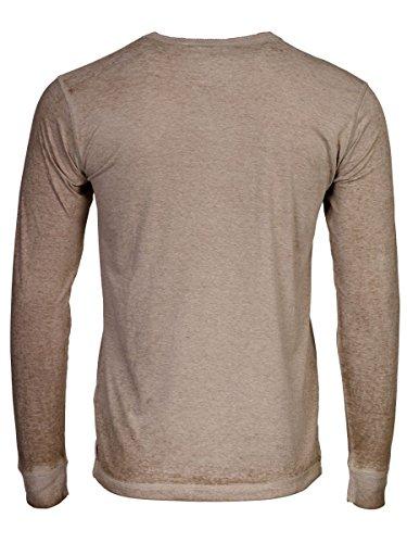 TREVOR'S KAAN Herren Langarmshirt mit Rundhalsausschnitt und Knopfleiste aus Baumwolle und Polyester - soziale fair trade Kleidung, Mode vegan und nachhaltig Color dark-sand, Size S - 2