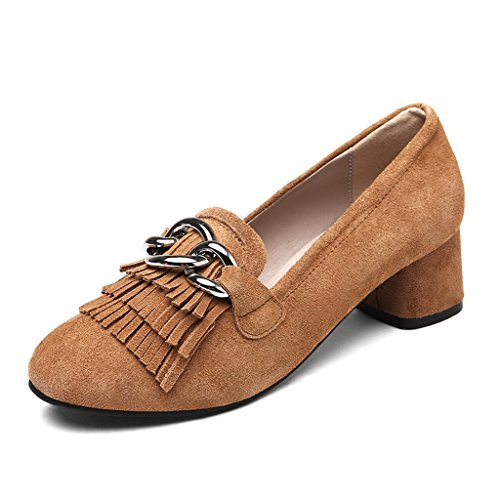 HWF Scarpe donna Single Shoes Female Summer Tassel Shallow Mouth Scarpe da donna Casual A Pedal Scarpe col tacco alto ( Colore : Nero , dimensioni : 39 ) Marrone