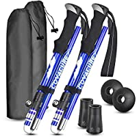 covacure nordic walking trekking poles - hiking sticks/walking poles with antishock and quick lock system, folding, telescopic, collapsible, ultralight for outdoor, hiking, camping