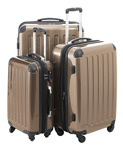 HAUPTSTADTKOFFER 3er Hartschalen Kofferset · Handgepäck 42 L + Koffer 74 L + Koffer 119 L · Hochglanz · TSA Schloss · CHAMPAGNER + KOFFERANHÄNGER