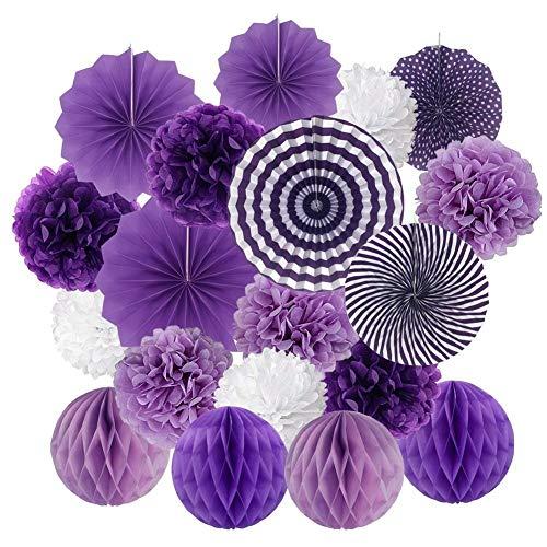 19 Stück Seidenpapier Pompoms Blumen Ball Dekorpapier Kit für Geburtstag Hochzeit Baby Dusche Parteien Hauptdekorationen und Partei Dekoration - Violett, Lavendel