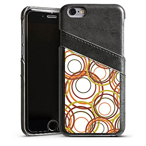 Apple iPhone 5s Housse Étui Protection Coque Cercles Motif Motif Étui en cuir gris