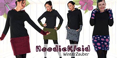 Hoodiekleid Winterzauber der Marke 3Elfen fair hergestellt in Berlin schwarz fleece