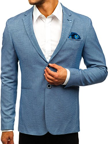 BOLF Herren Sakko Elegant Blazer Klassische Slim Fit RED Polo 0158A Blau XS/46 [4D4] | 05902646901060