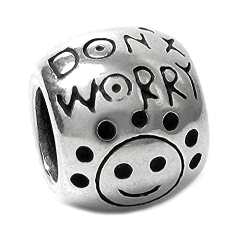 Queenberry Klipp-Perlanhänger Sterling-Silber Don't Worry, Be Happy Smiley-Face Happy Bead