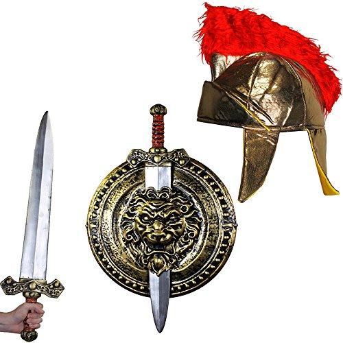 ILOVEFANCYDRESS Gladiatoren RÖMER KÄMPFER KOSTÜME VERKLEIDUNG ZUBEHÖR = FÜR Film FERNSEH Themen Fasching Karneval Krieger Party =GOLDENES Schild UND Schwert + WEICHE Gladiator Kappe