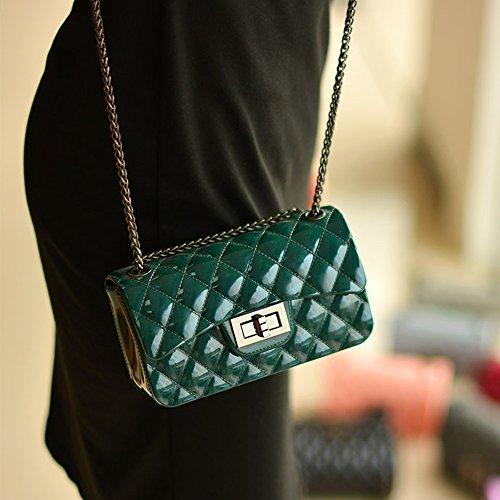 Young & Ming - Mini Jelly diamante Borse Donna Borse a tracolla Shoulder Bag con catena metallica Fashion Handbag Verde scuro