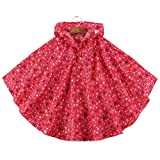 Mainaisi Bambini Mantella Impermeabile Antivento e Antipioggia Poncho con Bag (Rose Rosse,S/80-100CM)