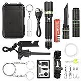 17 in 1 Outdoor Survival Kit Set, Emergency Survival Tool Set für Camping Wandern Klettern Ausflüge Selbsthilfe Box by ANGAZURE