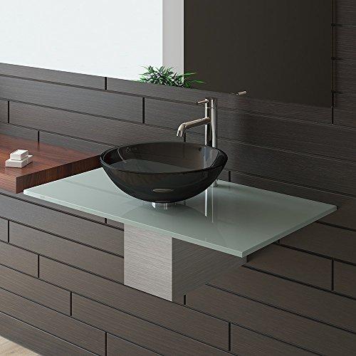 Alpenberger® Schwarze Glaswaschschale Ø 42 cm mit Satinierte Waschtischplatte 90 cm