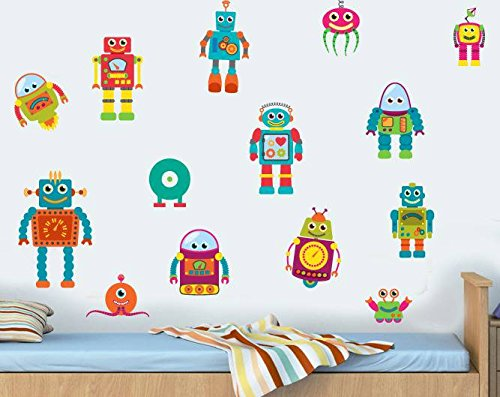 Childrens Robots - Pack of 14 - Wall Art Vinyl Printed Stickers