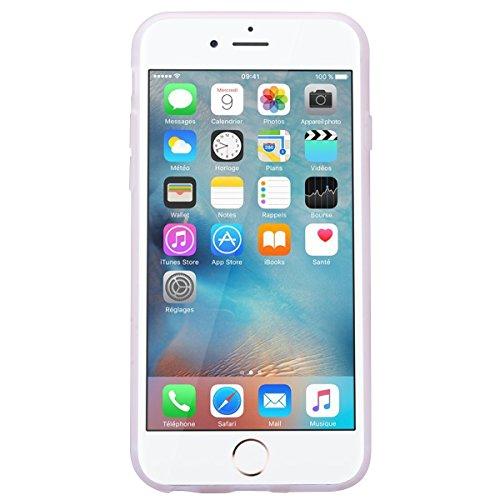 HB-Int für iPhone 6 / 6S Weich Silikon Hülle Licht Durchlässig Transparent Ultra Dünn Schutzhülle Daisy Flexible Full Body Case Bumper Shell Handytasche Rosa Streifen