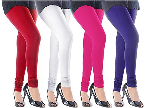 M.G.R.J Women\'s Cotton Lycra Churidar Leggings Combo (Pack of 4 White, Pink, Purple, Red) - Free Size