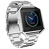 Fitbit Blaze Accessory Band Large,Oitom Frame Housing+Stailess steel Bracelet Replacement Strap Watch Band for Fitbit Blaze Smart Fitness Watch(Silver Steel+Frame)
