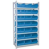 Verzinktes Steckregal, bestückt mit 21 Sichtlagerkästen LB 2T Farbe blau LxBxH 500 x 300 x 200 mm, 7 Böden, Regalmaße HxBxT 2000 x 1070 x 515 mm