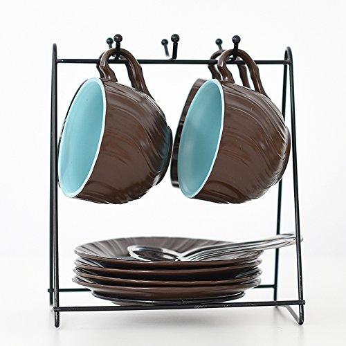 Tasses à café,Mug en céramique et Soucoupe Tasses à thé et soucoupes Quatre Ensemble de Housse de Couette Tasse Espresso Cadeau Cadeaux d'affaires-D 175ml