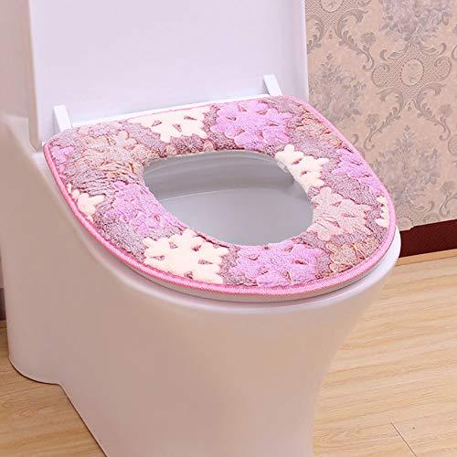 JYPHM Toilettensitzbezug Warm, Dicker WC-Sitz, abnehmbar und waschbar, Flanellmatte Rose (Wc-sitz Rose Längliche)