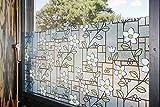 Tamia-Home Statische Fensterfolie 90% UV-Sonnenschutz Selbsthaftende Sichtschutzfolie Glasdekor (M003 Blaue Blumen, 60x150cm)