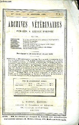 ARCHIVES VETERINAIRES PUBLIEES A L'ECOLE D'ALFORT Janvier 1881