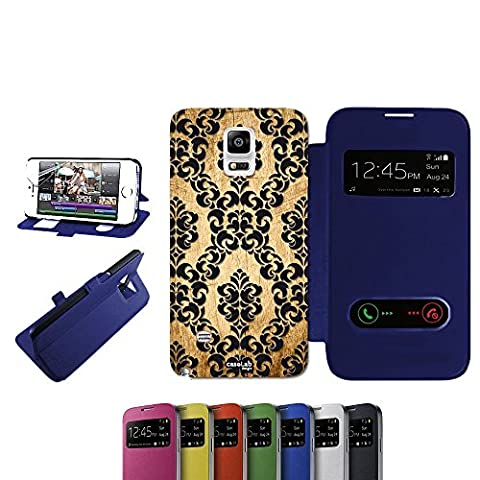CASELABDESIGNS S VIEW BOOK CASE COVER BLUE EFFETTO LEGNO TRAMA WALL FOR SAMSUNG GALAXY NOTE 4 N910F BLU - BODY S VIEW BOOK BLUE MATERIAL PROTECTIVE SHOCK