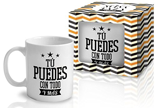 Taza Cerámica para Desayuno en Color Blanco de 300 ml, Un Regalo Original con Frases Motivadoras - 'Tú puedes con todo y más'