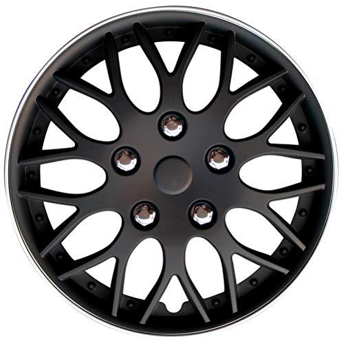 AutoStyle KT970-14MBK + S Set Copricerchio Missouri 14 Nero Opaco/Cerchio col. Argento, 4 pezz