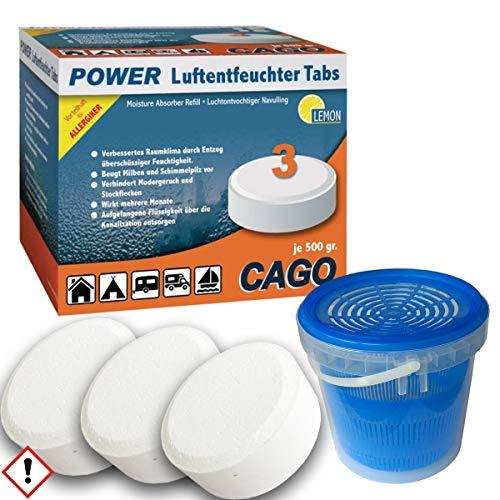 Luftentfeuchter Granulat Box MaxiPlus inkl. 3 Nachfülltabs á 500 g mit Zitroduft Nachfüller Raumentfeuchter Nachfüllpackung