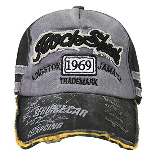 Cappello da baseball, unisex, in cotone lavato, cappellino con visiera, vintage per uomo e donna, berretto da baseball regolabile, cinturino posteriore, cappello per ripararsi dal sole, ideale per sport all'aria aperta, Grey Peak