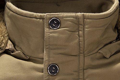 URBANFIND Herren Normale Passform Winter Vlies Oberbekleidung Jacke L?ssige Kapuze Warm Windbreaker Mantel Khaki 2