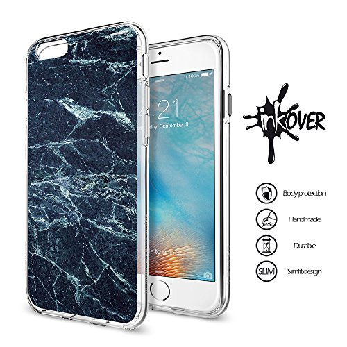 Cover iPhone 6 PLUS , Cover iPhone 6S PLUS - INKOVER - Custodia Cover Protettiva Guscio Soft Case Bumper Trasparente Sottile Slim Fit Tpu Gel Morbida INKOVER POKER DESIGN Carte Gioco Azzardo Texas Hol MARMO 2