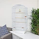 Wido Large WHITE METAL BIRD CAGE AVIARY CANARY COCKATIEL PARROT BUDGIE