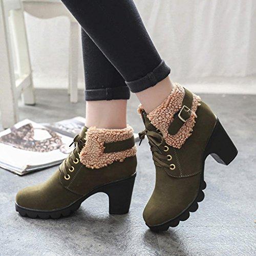 alti Women Boots Heels delle piattaforma Peluche Tacchi Stivali invernali donne Army Green High up SOMESUN Lace Martin della Scarpe Platform stivali qSStgxwa