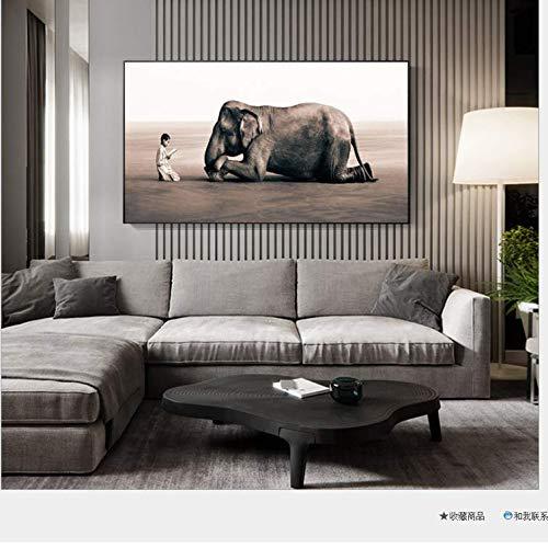 QLCUY HD Cuadro Moderno Imprimir En Lienzo Gente Y Elefantes Pared Arte...