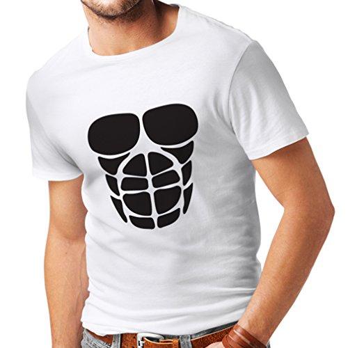 Männer T-Shirt Für Ihr Muskelwachstum - lustige Trainingshemden (XXXXX-Large Weiß Schwarz)