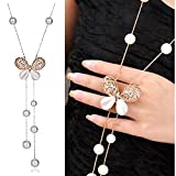 #10: GIRISA Fashion Jewelry Stylish Pendants for Girls with Long Chain Butterfly Pendent Party Western Wear Necklace For Women & Girls