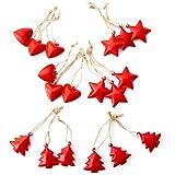 18Rosso Piccolo Ciondolo in metallo cuore stella albero come decorazioni di Natale Decorazioni Albero di Natale Ciondolo in metallo targa in im Set: decorazione natalizia da appendere Christbaum regali