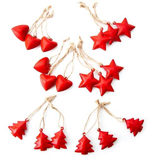 18 kleine rote Metallanhänger Herz Stern Baum als Weihnachtsdekoration Christbaumschmuck Anhänger aus Metall Blech im Set: weihnachtliche Deko zum Aufhängen Christbaum Geschenkanhänger