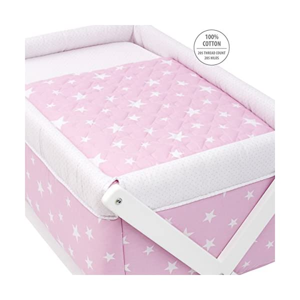 Cambrass Be Universe Small Bed X Wood, 55 x 87 x 74 cm, Une Pink  Wooden structure in white wood Suitable for the baby's first months 4 wheels: easy to move around the house 2