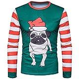 SEWORLD Weihnachten Christmas Herren Abend Party Männer Weihnachtskostüm Sankt Drucken Urlaub Humor Langarm T-Shirt Xmas Top(Mehrfarbig2,EU-48/CN-M)