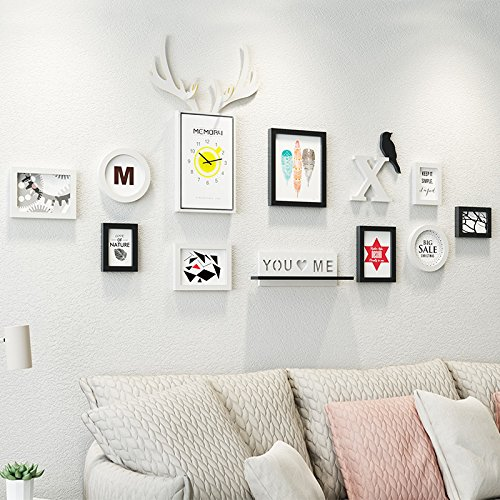Bilderrahmen*The walls are decorated with pictures watches creative deer living room Album Wall photo frame wall photo wall combination, Black and White Photo Frame Picture Album Keychain