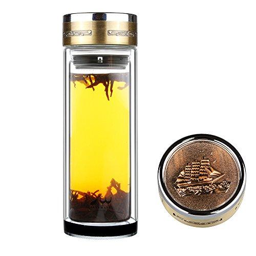 Fruit Infuser Tee Flasche Glas Teebereiter Trinkflasche - BPA frei, Ultra klar, auslaufsicher - mit Metalldeckel und Sieb - Für pflanzliche Infusionen, Eis und Grüner Tee, Vitamine, Matcha, Kaffee, Smoothies und ätherische Öle, 560ML
