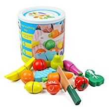 medoga Cutting Food Wooden Play Food Set Educational Toy Pretend Food with Knife Fruit Vegetable Fish and Cutting Board (13 pcs Wooden Play Food)