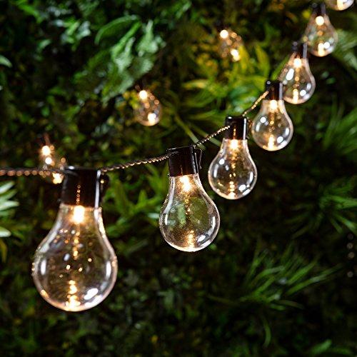 Lights4fun 20er LED Party Lichterkette warmweiß Strom Innen- und Außen (Weiß-euro-schein Schwarz Und)
