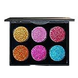 Swiftswan 6 Farben Glitter Make-up Pulver Metallic Schimmer Lidschatten-Palette Hochpigmentierte Mineral Kosmetik Make-up Lidschatten