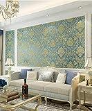 3D reliefs européen en trois dimensions Damascus non - papier peint tissé pour salon de beauté salon TV fond mur papier peint chambre à coucher 0,53x9,5 cm, bleu royal