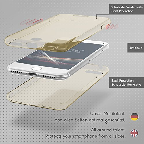 URCOVER® Housse Coque Tactile 360 degrés édition | Apple iPhone 7 | Silicone TPU net | Transparent Doux Protection Écran Étui Double-Couche Ultra-mince champagne doré