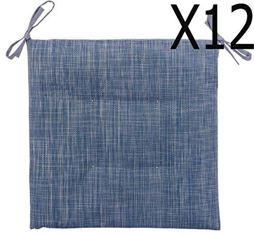 Lot de 12 galettes de chaise d'extérieur carrée 4 points Bleu orage chiné - Dim : 40 x 40 cm -PEGANE-